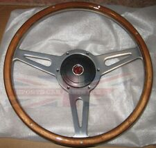 "New 14"" Wood Steering Wheel and Adaptor for MG Midget 1961-1963 MK1"