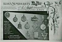 PUBLICITÉ DE PRESSE 1914 BIJOUX SYMBOLIQUES A.AUGIS MODÈLES DE MÉDAILLES