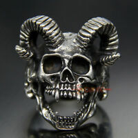 Men's Vintage 316L Stainless Steel Goat Head Big Horn Skull Ring Gothic Biker