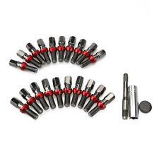 20 Black Wheel Lock Spline Lug Bolts Nuts M14x1.25 + Key Shank Cone Seat for BMW