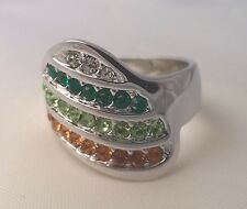 G-Filled Ladies 18ct gold multi coloured ring emerald peridot orange sapphire cz