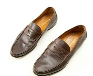 Paul Stuart Penny Loafers Shoes Mens 10.5 M Leather Made in Italy Brown Slip Ons