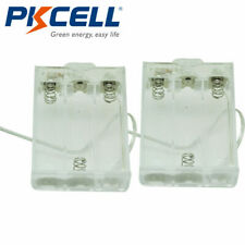"""Transparent Battery Holder Case 3-AA Cells Box With 6"""" Cable Leads & Switch 2Pcs"""