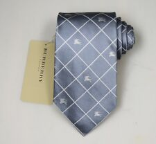 "NEW Burberry GRAY Check Mans 100% Silk Tie Authentic Italy Made 3.5"" 035065"