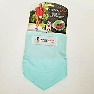 Pet Travel Water Bowl Dog Wearable Bandana Waterproof Teal Large 25lbs over NEW
