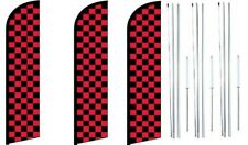 Red & Black Checkered Windless Flag With  Hybrid Pole set 3 pack