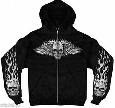 Sweat capuche zippé FLAME WINGED SKULL - Taille XL - Style BIKER HARLEY