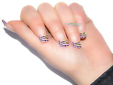 TIPS UNGHIE FINTE DECORATE FRENCH TIP 12 PZ ROSA ZEBRATE NERO PEACE AND LOVE
