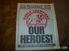 NEW YORK POST Newspaper - Oct. 23, 1998 - World Champion Yankees, Our Heroes