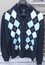 BROOKS BROTHERS 346 Mens Navy Argyle 1/4 Zip Sweater Size Large 100% Cotton