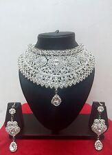 Indian Bollywood Style Fashion Rhodium Plated Bridal Jewelry Necklace Set