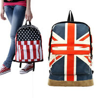 Women Men Flag Pattern Unisex Canvas Teenager School Bag Book Campus Backpack