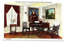 Old SALEM MA Linen Postcard Parlor inside House of Seven Gables