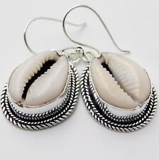 Natural Money Cowrie Sea Shell Jewelry 925 Sterling Silver Handmade Earring 9 Gm