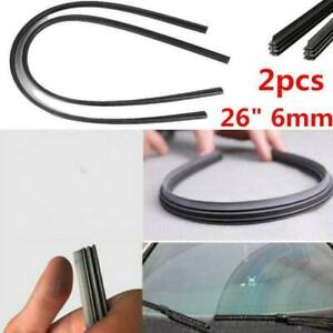 2PCS 26'' 6mm Car SUV Silicone Universal Frameless Windshield Wiper Blade Refill