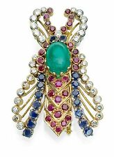 DIAMOND, RUBY, EMERALD, AND SAPPHIRE SOLID 18K GOLD FLYING BUG PIN TCW 11CT