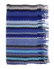 Missoni Blue Long Zigzag Fringe Scarf