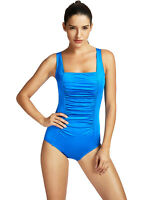 Women's Pleated Maillot One Piece Athletic Sporty Training Swimsuit