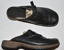 Teva Ventura Sz 7.5 M 38.5 Black Leather Mules Clogs Platform Slip-On Shoes