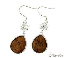 Koa Wood Hawaiian Teardrop Flower Rhodium Silver Plated Brass Hook Wire Earrings
