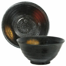 """Japanese 8""""D Ceramic Ramen Noodle Black with Gold & Red Rice Bowl, Made in Japan"""