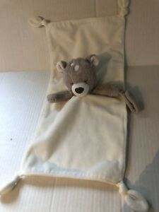 Carters OS Teddy Bear Lovey Security Blanket Rattle Pacifier holder 8 x 15