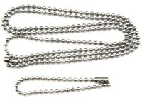 """24"""" & 4"""" Inch Stainless Steel 2.4 mm Ball Chain Military Dog Tag Necklace Set"""