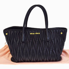 Authentic MIU MIU Logos Hand Tote Bag Leather Black Gold Made In Italy 69V1919