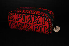 Victoria's Secret PINK Small Makeup Bag Purse Cosmetic Case *Red / Black* New