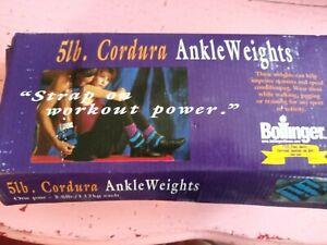 Vintage 5lb Cordura ankle weights Bollinger workout power blue unisex 5 pounda