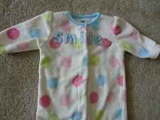 "Carter's Just One Year Fleece Outfit One-Piece Size 3 months ""SMILE"" Message"