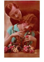 Loving Eyes Flowers Fancy Romantic Couple Victorian Lovers Postcard Hand Colored