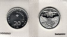"SWITZERLAND 20 FRANCS 2013 ""Transalpine flight"" SILVER UNC"