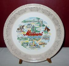 Vintage MISSOURI STATE COLLECTOR PLATE Gold Filigree on Rim ^