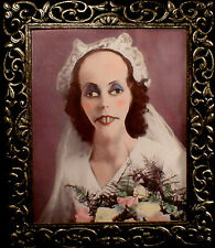 "HAUNTED Antique Photo ""EYES FOLLOW YOU"" Creepy Bride Portrait prop Halloween"
