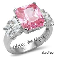 9.50 Ct Radiant Cut Pink Rose CZ Stainless Steel Engagement Ring Band Size 5-10