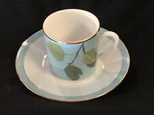 Laure Japy Branches Turquoise Espresso Cup & Saucer ~new~
