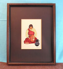 Framed and Matted Randy Silva Original Art Tempera Painting