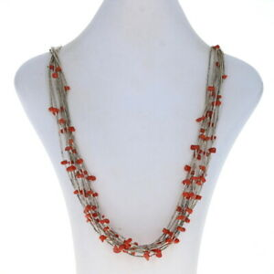 "Native American Coral Multi-Strand Necklace 26 1/4"" - Sterling Silver 925"