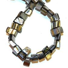 """MP1155L Black 8mm - 9mm Tri-Tip Nugget Mother of Pearl Gemstone Shell Beads 15"""""""