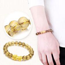 Pure 24K Yellow Gold 3D Pixiu & 8mmW Six-word Motto Smoky Agate Beads Bracelet