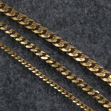 3.5/5/7MM 18K Yellow Gold Plated Flat Chain Necklace Women Men Unisex Jewelry
