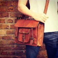"""Men & women 15"""" Vintage Leather Satchel Messenger HandBag Laptop Briefcase Bag"""