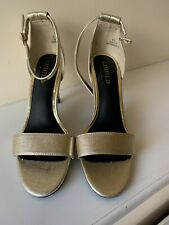 Bnwt Ladies Size 4 1/2 Gold Sandal Shoe From M & S. Rrp £25.00