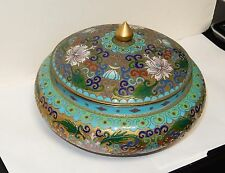 OLD HUGE GOLD GILT CHINESE CLOISONNE OPEN ENAMEL FLORAL JAR BOWL BOX