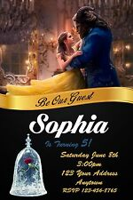 BEAUTY AND THE BEAST, BELLE  Birthday party invitations personalized YOU PRINT