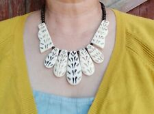 Cow Bone Necklace, Wooden Bead Necklace, Tribal Necklace, Chunky Necklace, Boho