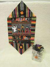 Handmade Halloween Table Runner & Jar Decoration Center Piece ~Witch~Pumpkin~Bat
