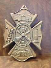 FIREMAN Fire House Embossed Cast Iron Metal Shield Cross Plaque Truck ManCave