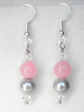 Light grey 8mm glass pearl and 8mm pink quartzite bead drop earrings 4.5cm